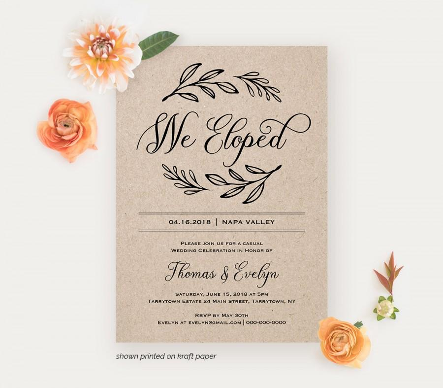 We Eloped Reception Invitation Template Printable Elopement