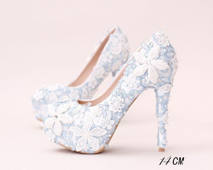 Hochzeit - Handmade High Heels Round Toe Blue Lace Crystal Wedding Shoes, S0040