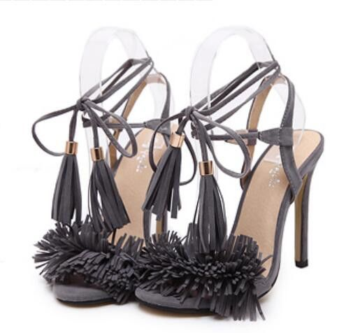 Hochzeit - Tassel Sandals Spain Summer Style Ladies Sexy Stiletto Pumps Women Fringe High Heels Party Wedding Shoes