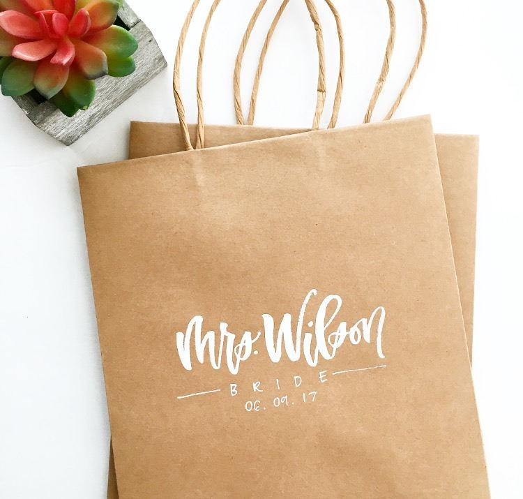 Mariage - Custom Gift Bags / Hand Lettered Gift Bags / Gift Bags / Birthday Party Bag / Wedding Bag / Party Favor / Party Supplies / Welcome Bags