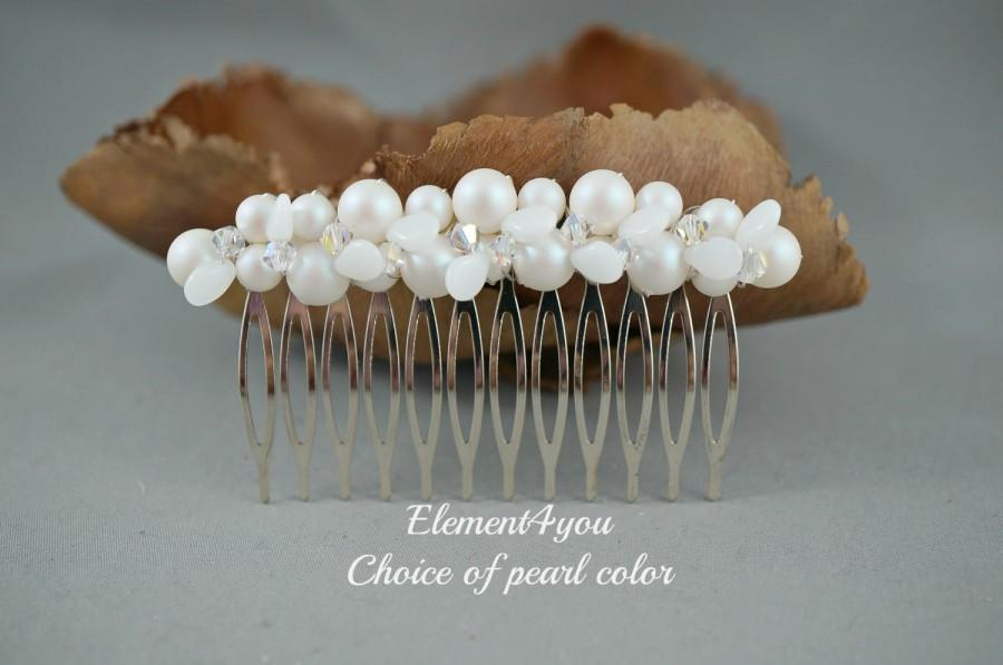 Mariage - White pearl hair comb Wedding bridal hair piece Swarovski ivory white pearlescent pearls Crystals silver gold fascinator veil Fall wedding