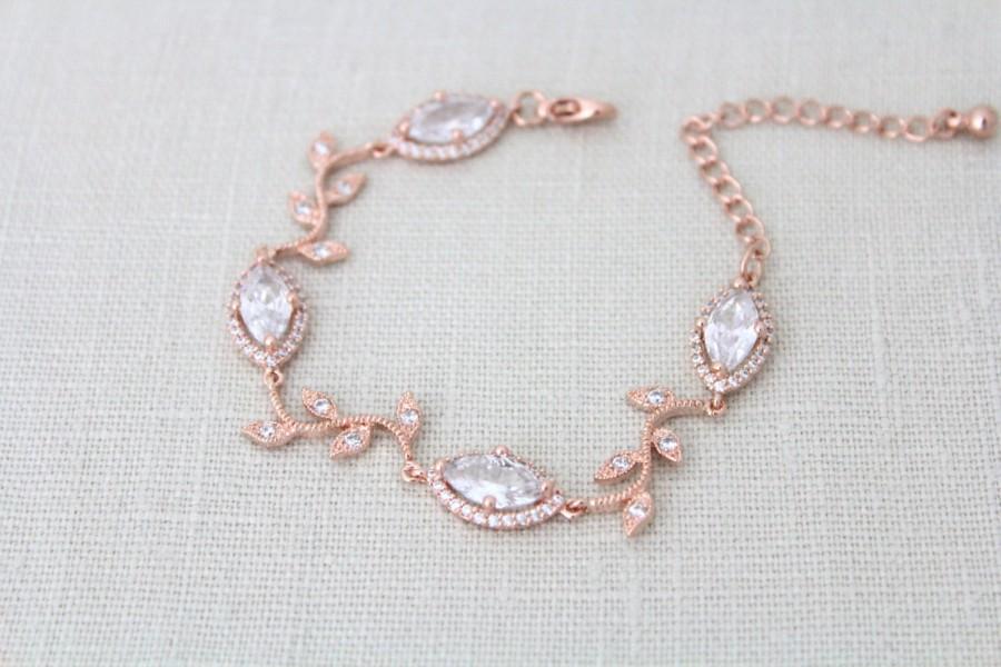 Mariage - Bridal bracelet, Rose Gold bracelet, Bridal jewelry, Crystal bracelet, Wedding bracelet, Leaf bracelet, Bridesmaid bracelet, Wedding jewelry