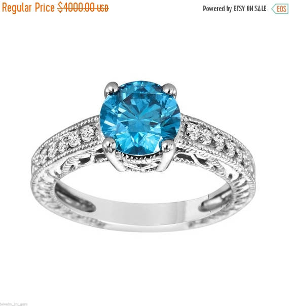 Mariage - ON SALE Blue Diamond Engagement Ring 1.60 Carat 14K White Gold Certified Handmade