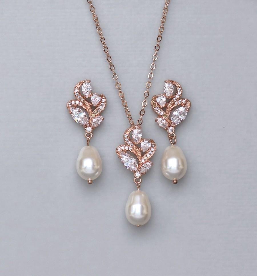 Mariage - Rose Gold Jewelry Set, Pearl Bridal Jewelry Set, Bridal Earrings & Necklace set, Bridal Jewelry set, ZARA
