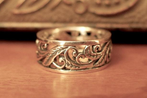 Mariage - Pretty Vintage 925 Sterling Silver Vine Ring