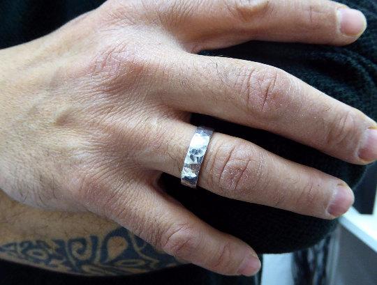 Men Wedding Ring 7mm 0 9mm Men Wedding Band Hammered Wedding Band