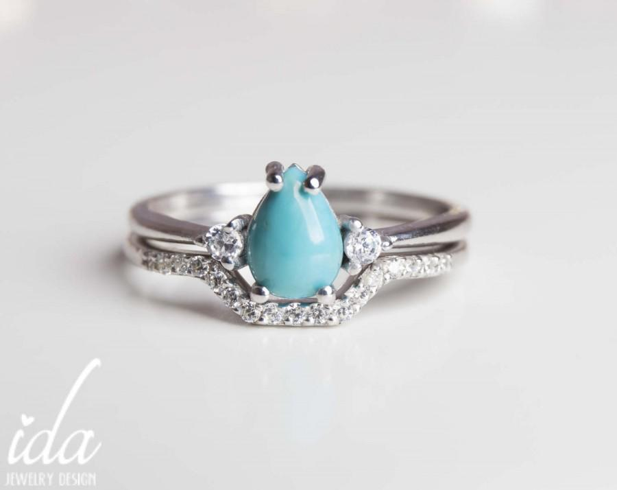 white gold turquoise engagement ring set wedding ring set white gold wedding band women unique engagement ring turquoise jewelry - Turquoise Wedding Ring