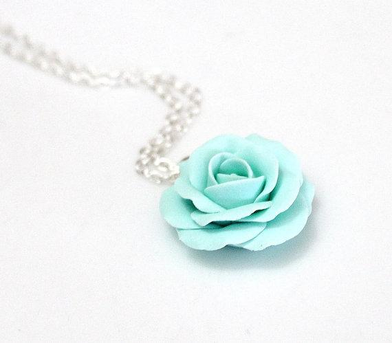 Wedding - Mint green rose, mint green flower necklace, mint Rose necklace, Wedding Jewelry Gift