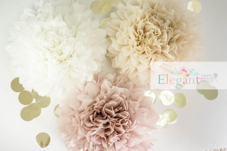 Dusty Pink Poms Paper Flower Flower Balls Wedding Decoration Adorable Paper Flower Ball Decorations