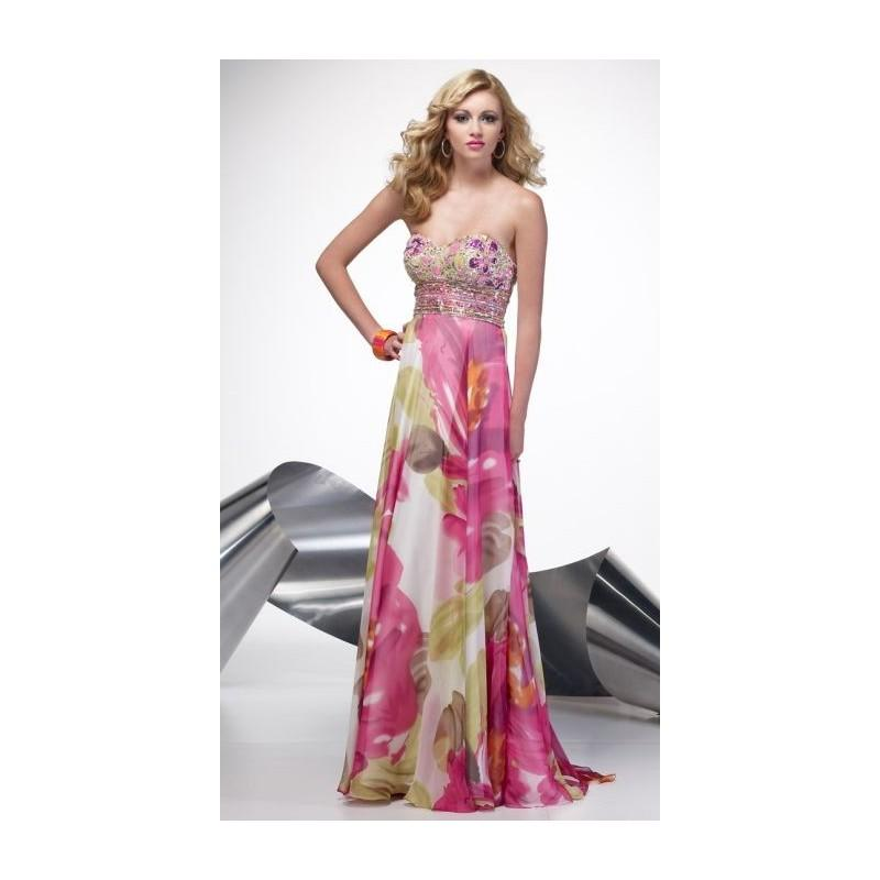 Pink Floral Chiffon Prom Dress Alyce Designs 6628 With Sequins ...
