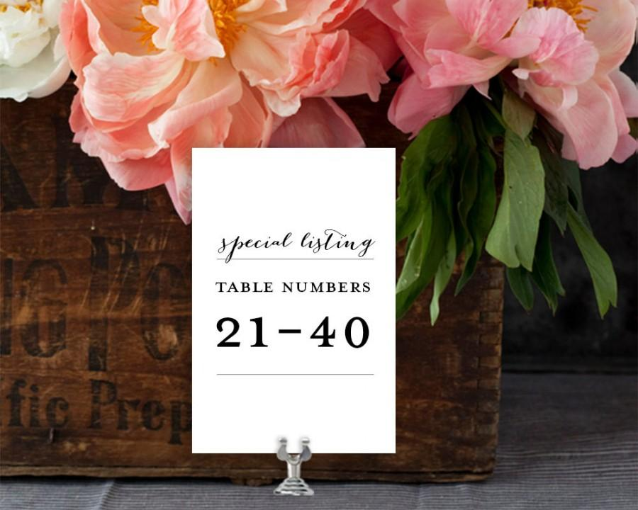 Свадьба - Wedding Table Numbers, Table Numbers 21-40 Special Listing (for all table number designs) EDN 5493
