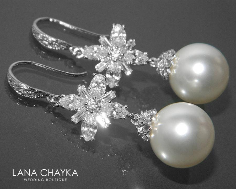 Hochzeit - Bridal Pearl Chandelier Earrings Swarovski 12mm White Pearl Earrings White Pearl Wedding Earrings Wedding White Pearl CZ Dangle Earrings - $37.00 USD