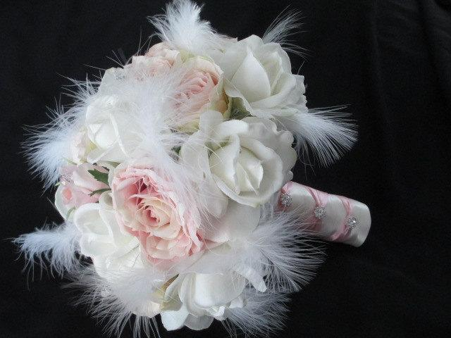 Hochzeit - Realtouch Cream/white roses Blush Silk Roses Feathers Rhinestone Bridal Wedding Bouquet Set