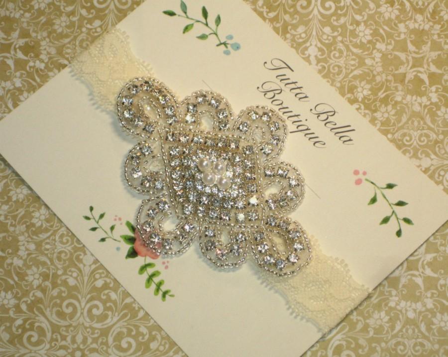 Hochzeit - Vintage Jeweled Headband, Ivory Pearl Bridal Headband, Flower Girl Headband, Prom Headband Adult Bridesmaid Headband Lace Headband Baby Bow