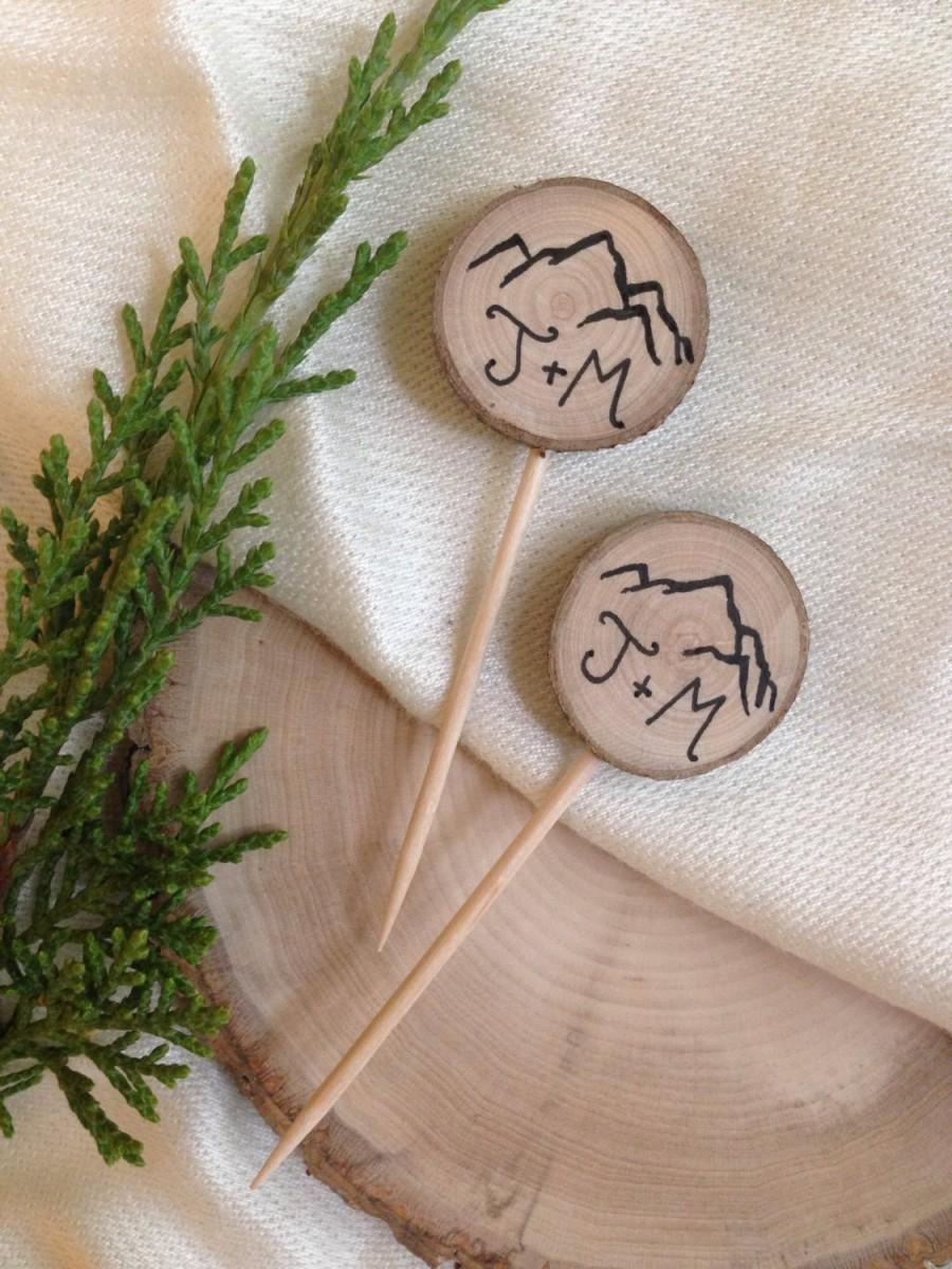 Hochzeit - Rustic Wedding Mountain Cupcake Toppers Custom Initials / Rustic Wood / Bridal Shower Party Picks / Wedding Decor / Engagement Party Boho