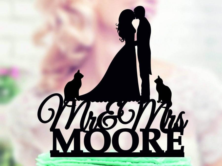 Wedding - Cake Topper with Cat,Mr and Mrs Cake Topper Wedding,Silhouette Wedding Cake Topper,Mr Mrs Last Name Cake Topper Cat,Silhouette Cake Toppers