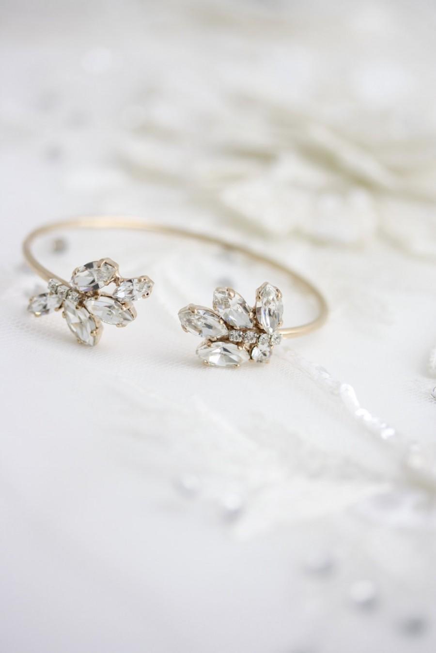Hochzeit - Bridal Wedding Bracelet Crystal Cuff Bracelet Open Cuff Bracelet Swarovski Crystal Bridesmaids Jewelry Rose Gold Crystal Bracelet SOPHIE