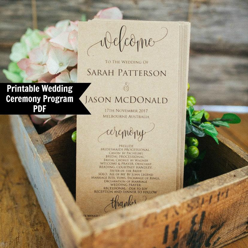 printable wedding program template rustic ceremony wedding program