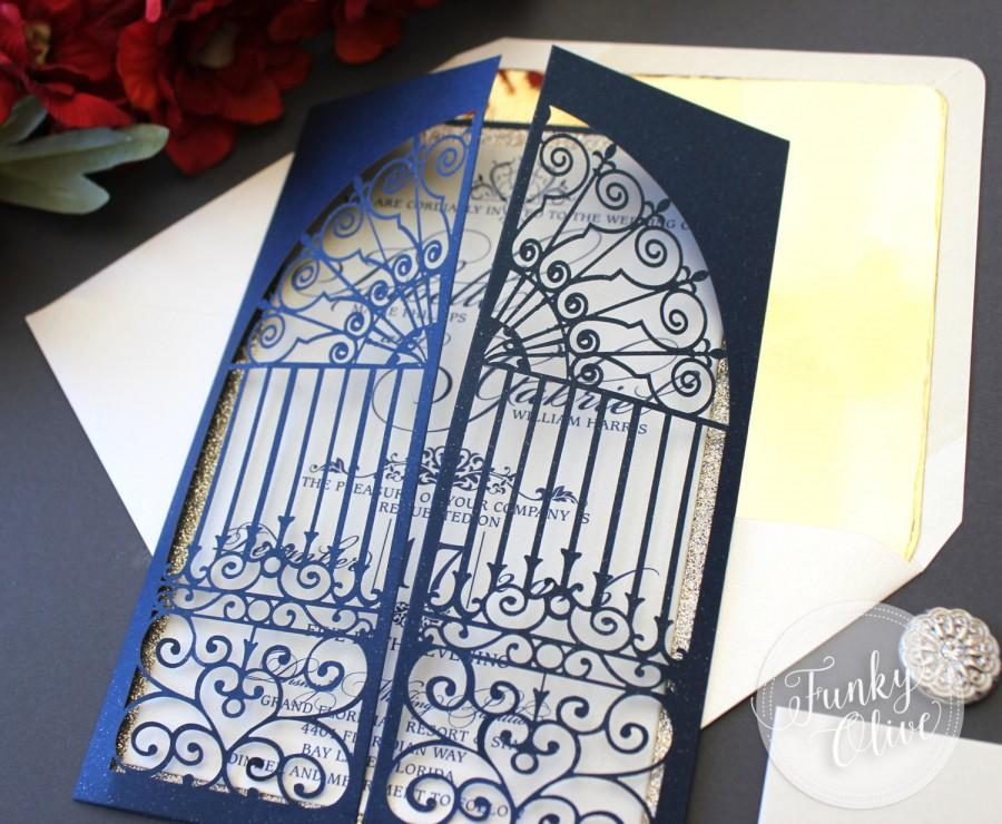 زفاف - Belle Beauty & The Beast Inspired Wedding Invitations Navy Laser Cut Gate Gold Glitter Invites Royal Wedding Elegant Custom Colors Available