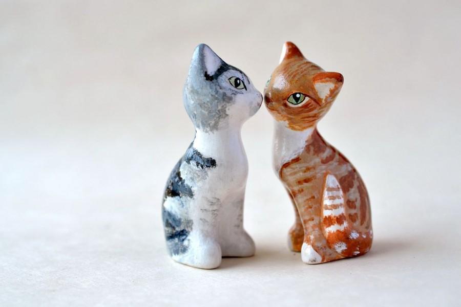 Mariage - Custom cat figurine - personalized cat portrait - wedding cake topper - painted custom cat decor - wedding cake decoration
