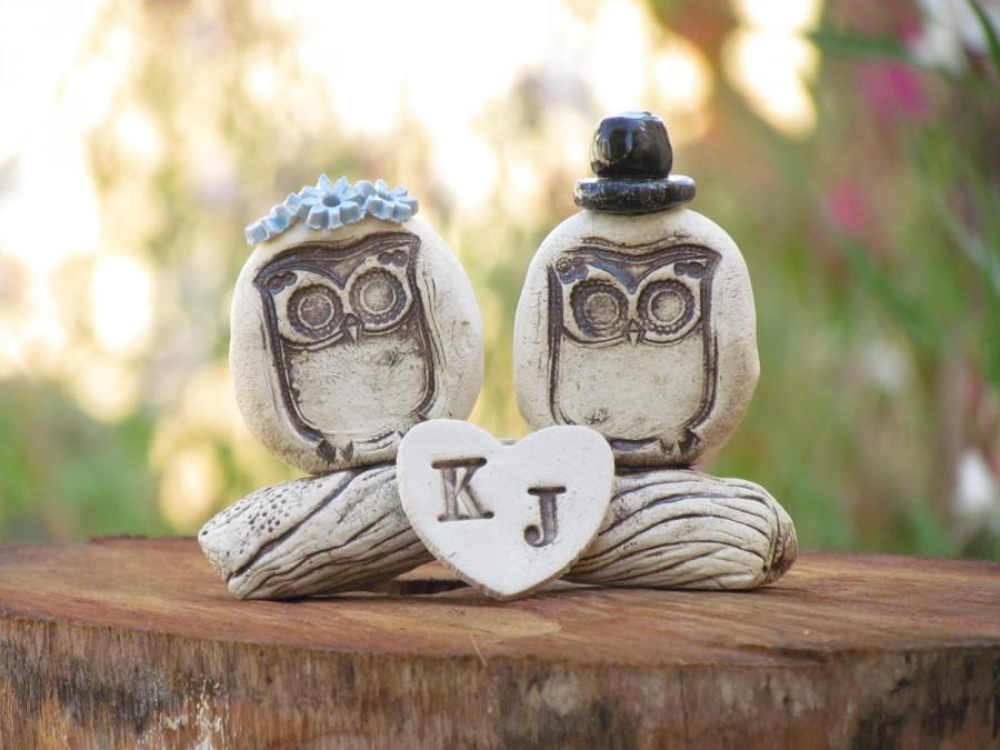 زفاف - Owls cake topper Rustic personalized bride and groom love birds cake topper
