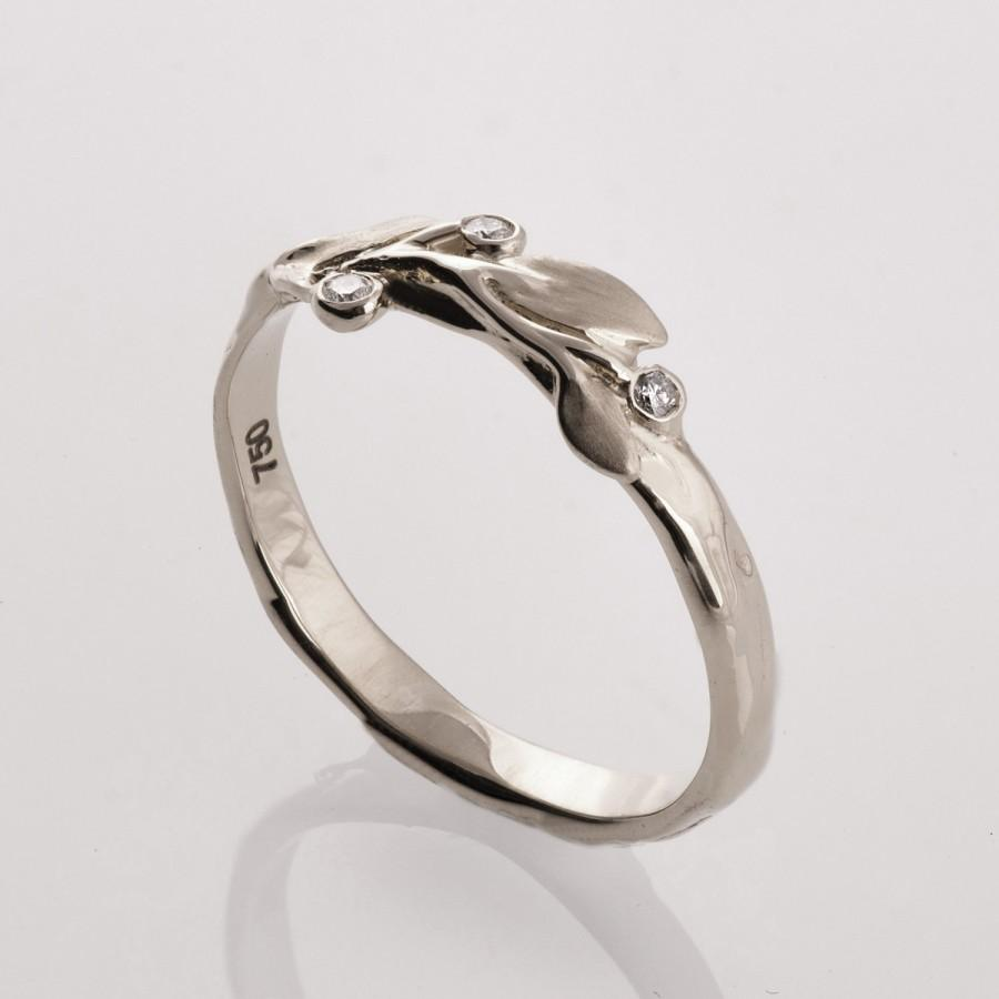 Свадьба - Leaves Diamonds Ring No. 9 - 14K White Gold and Diamonds engagement ring, engagement ring, leaf ring, antique, art nouveau, vintage