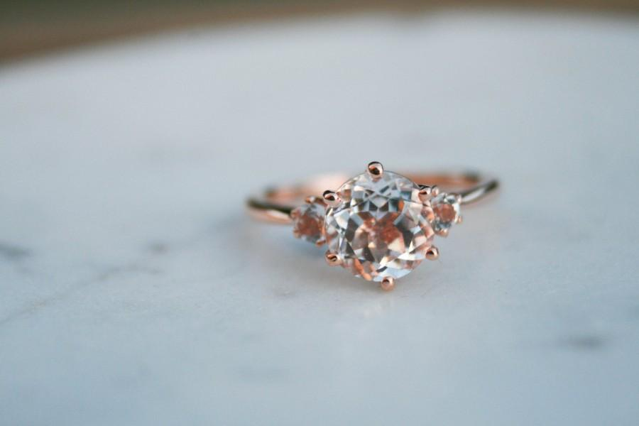 Mariage - Round White Topaz Three Stone Ring, Engagement Ring, Rose Gold Engagement Ring, White Topaz Engagement Ring