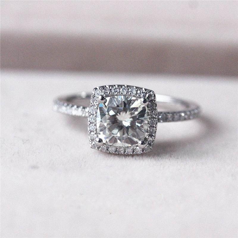 Hochzeit - Cushion Moissanite Ring, Moissanite Engagement Ring, Engagement Ring, White Gold Ring, Halo Engagement Ring, Diamond, Halo Diamond