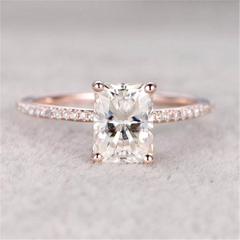 Hochzeit - 6x8mm Emerald Cut Moissanite Ring, Rose Gold Ring, Diamond Ring, Engagement Ring, Wedding Ring