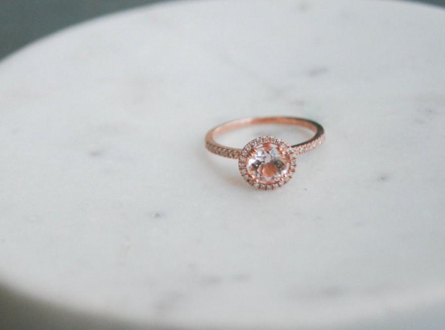 Hochzeit - 6.5mm Diamond Halo Rose Gold Morganite Engagement Ring, Rose Gold Morganite Ring, Diamond Halo around Morganite, Halo Engagement Ring