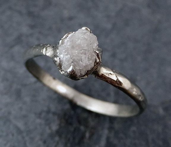Hochzeit - Raw Rough Uncut Diamond Engagement Ring Rough Diamond Solitaire 14k white gold Conflict Free Diamond Wedding Promise byAngeline 0186