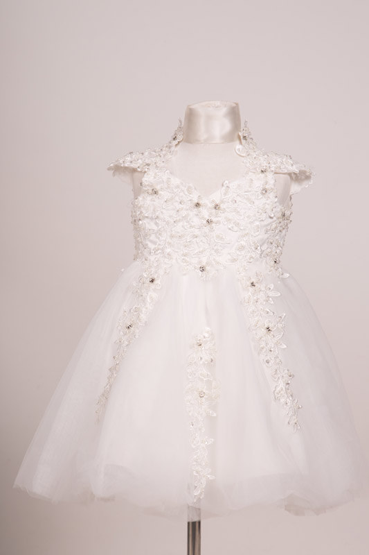 Wedding - Richly embroidered beaded lace Flowergirl birthday baptism Christening baby dress dress white Ivory dress designs long length tea length kne