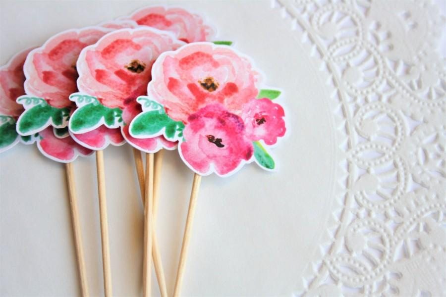 زفاف - Floral Cupcake Toppers. Flower Cupcake Toppers. Floral Theme. Baby Shower. Bridal Shower. Wedding. Birthday Decorations. Spring. Summer.