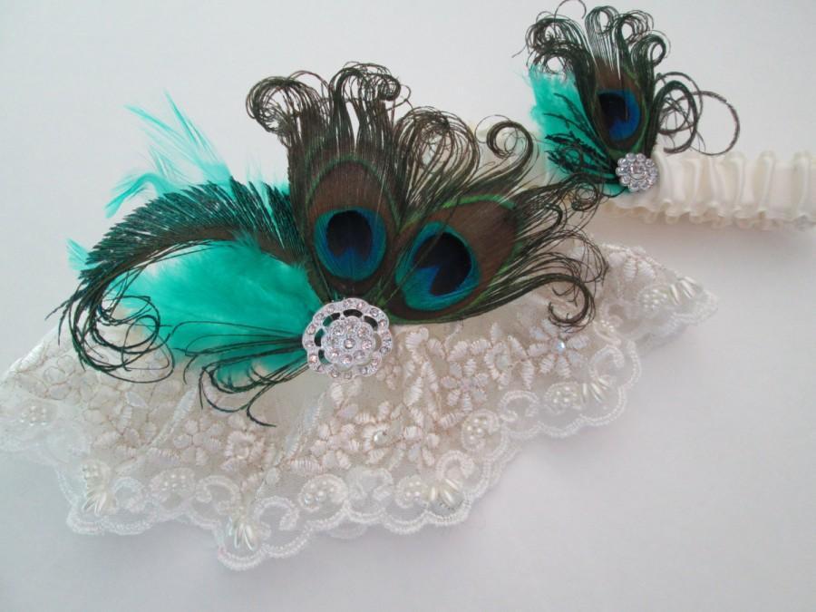 """Свадьба - Peacock Wedding Garters, Ivory Vintage Lace Garters, Something """"Teal"""" Blue, Teal Jade Garter, Flapper 20s Bride, Rustic Country Bride"""