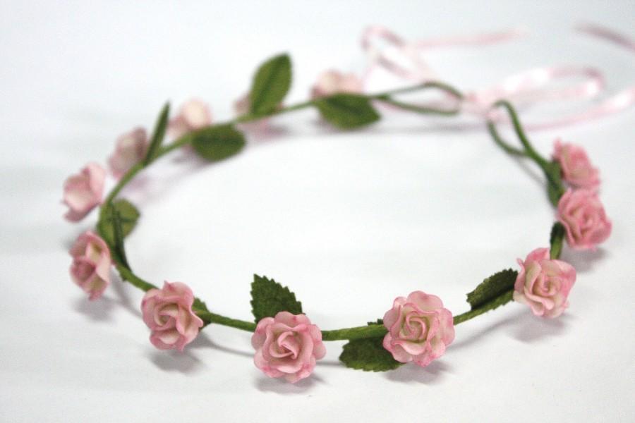 Wedding - Pink Roses Tiara, Miniature Polymer Clay Flowers Hair Accessories