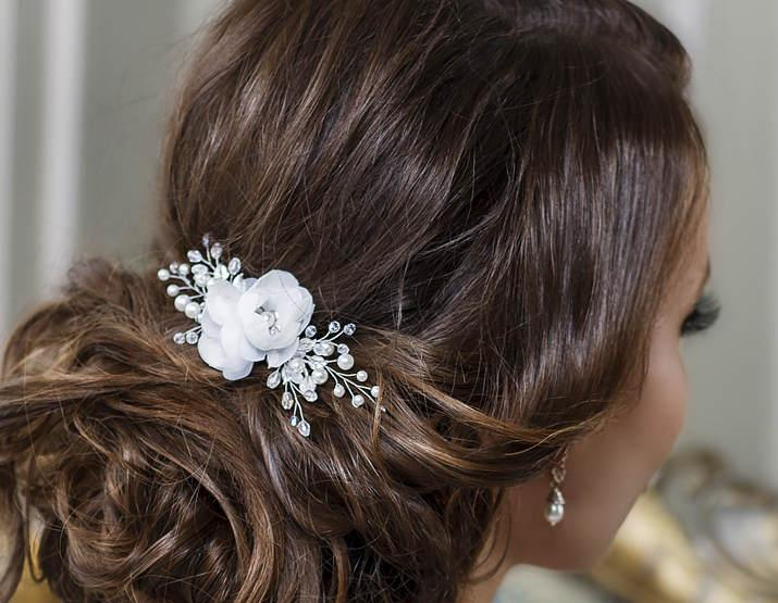 Wedding - Bridal hair clip Bridal hair flower Wedding hair Flower hair clip Bridal Flower headpiece Flower hair piece Floral Hair Comb Bridal clip