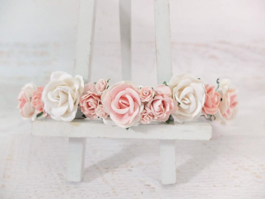 Свадьба - Flower crown - white and pink headpiece - white blush flower wedding hair accessories - floral hair wreaths for girls - garland
