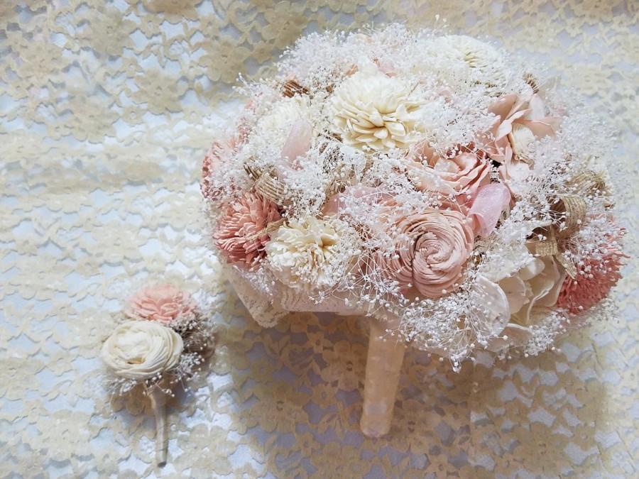 زفاف - Blush Sola Flower Wedding Bouquet Made to Order Rustic Blush Pink Sola Flower Bridal Bouquet Sola Flower Boutonniere Grooms Boutonniere