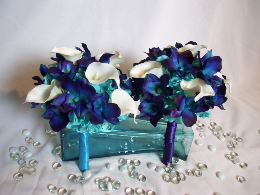 زفاف - Chelsey's Bridemaids Bouquets, Turquoise Hydrangeas,Blue Violet CA Dendrobuim Orchids, White Calla