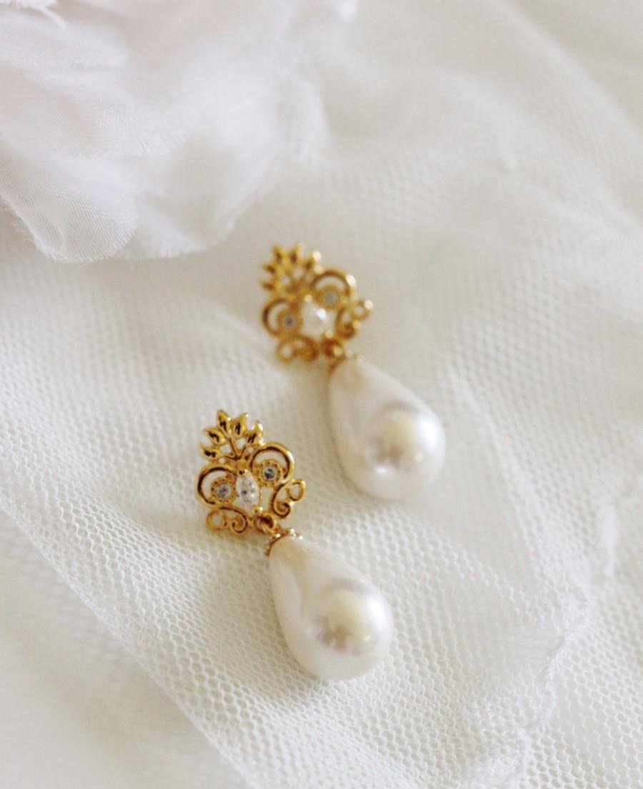 Gold Bridal Earrings Pearl Earrings Bridal Jewelry Vintage Style Wedding  Earrings Filigree Cz Post Earrings Gift For Mom