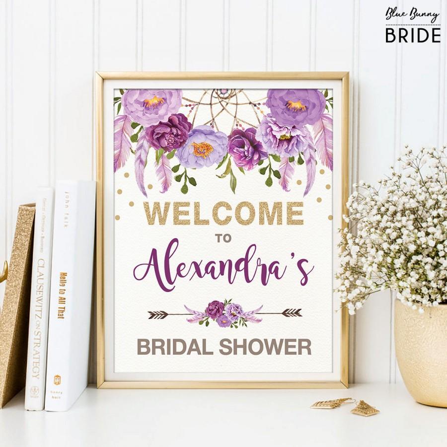 زفاف - Purple Floral Bridal Shower Welcome Sign. Boho Rustic Feathers. Lavender Gold Flowers. Bohemian Bridal Shower Decor. Dreamcatcher FLO12B