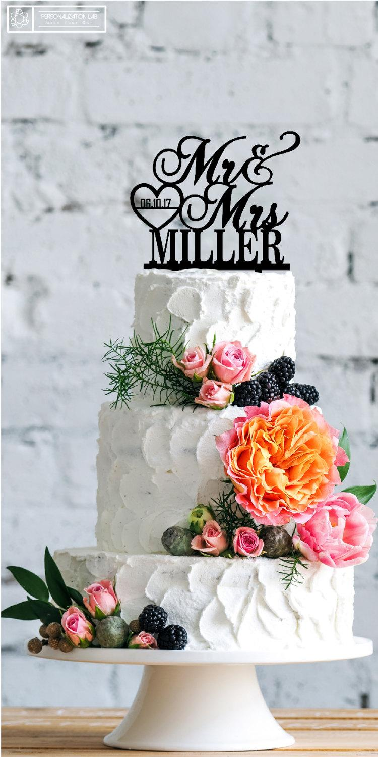 Mariage - Personalized Mr & Mrs Last Name - Date Heart Custom Wedding Cake Topper Acrylic Real Wood Cake Topper Fancy Customized Wedding Topper