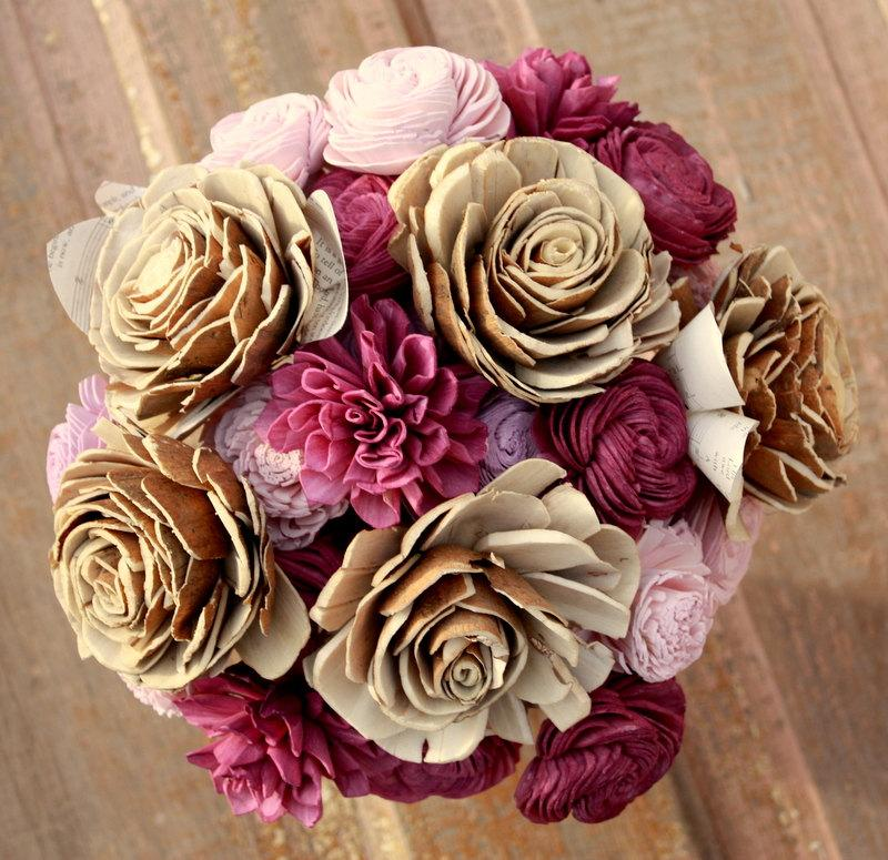 Eggplant Wedding Bouquet, Sola Wooden Flower Bouquet, Deep Plum Sola ...