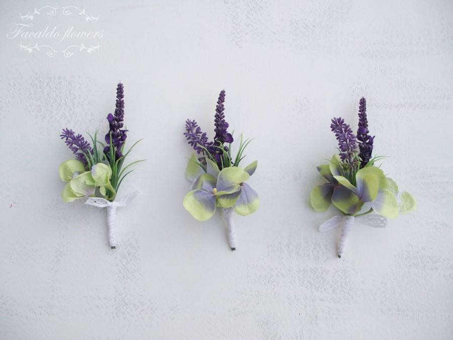 Groom best man wedding buttonhole boutonniere artificial silk groom best man wedding buttonhole boutonniere artificial silk flowers green hydrangea purple lavender cotton lace ribbon rustic vintage mightylinksfo