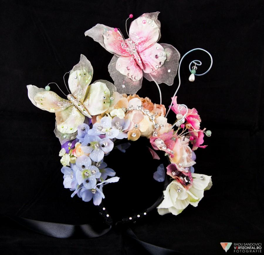 Mariage - Crystal Bridal Headpiece, Flower Wedding Accessories, Butterfly Headdress, Haute Couture Fascinator