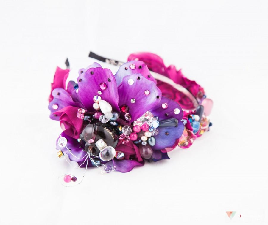 Mariage - Perfume Bottle Headpiece, Radiant Orchid Fascinator, Flower Wedding Accessories, Amethyst Crystal Headpiece
