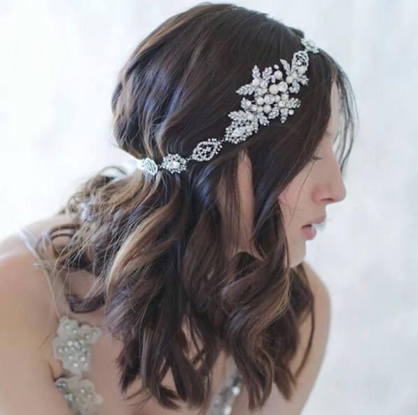 Свадьба - Crystal Simulated Pearl Tiara Hair Jewelry Rhinestone Flapper Gatsby Hairband Bridal Headwrap Crystal Headband Wedding Headpiece