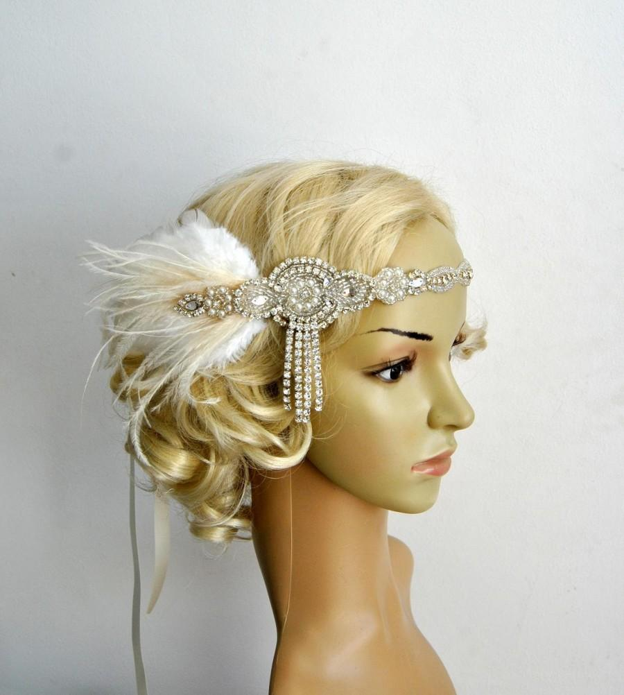 Mariage - The Great Gatsby 20's Ivory rhinestone pearls flapper headband,20's flapper Headpiece headband, Bridal Headband, Crystal Ribbon Headband