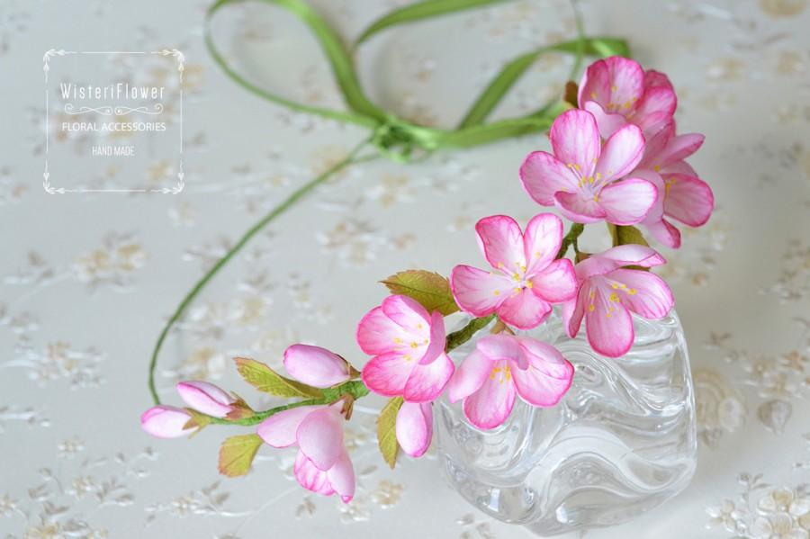 Mariage - Flower crown Gift for her Cherry blossom Spring hair piece bridesmaid accessory Wedding crown Sakura Pink Headbands flower girl Spring crown