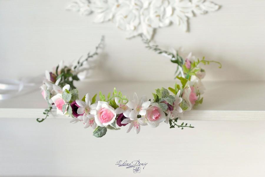 Mariage - Woodland wedding crown flower White purple head wreath woodland Bridal halo rustic wedding Forest head piece ivy flowers crown Bride hair - $53.00 USD